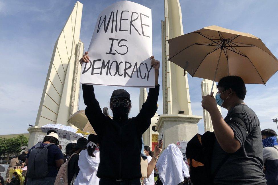 Manifestantes en Tailandia, 16 de agosto de 2020