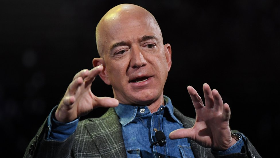 Amazon founder Jeff Bezos addresses the audience in Las Vegas, Nevada