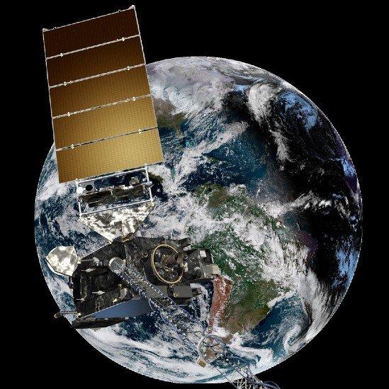Una imagen de la Tierra y un satélite