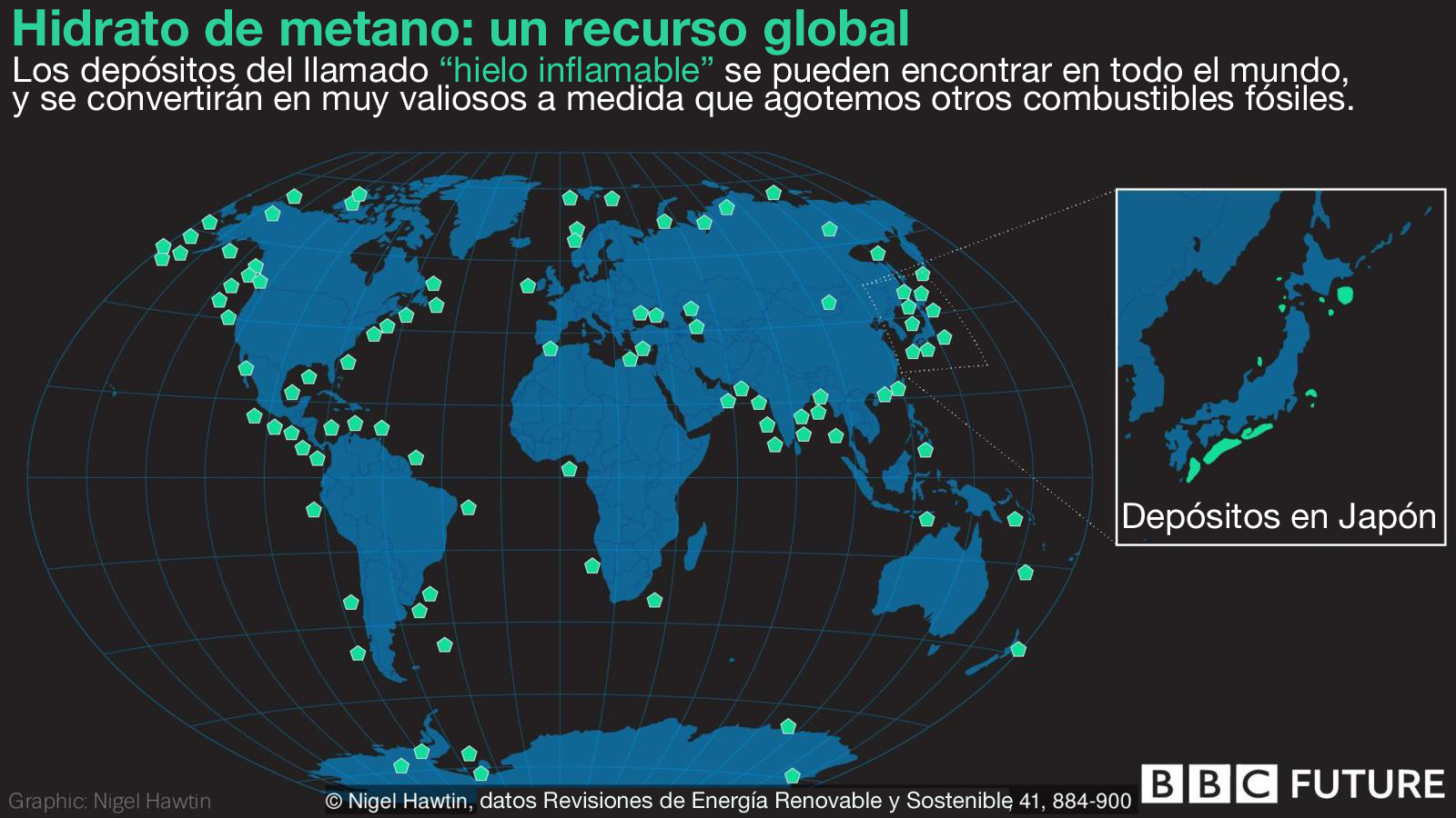 Visualización hidrato de metano en el mundo.