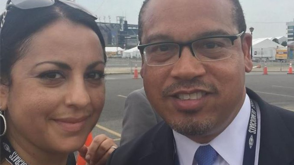 Photo of Karen Monahan and Keith Ellison