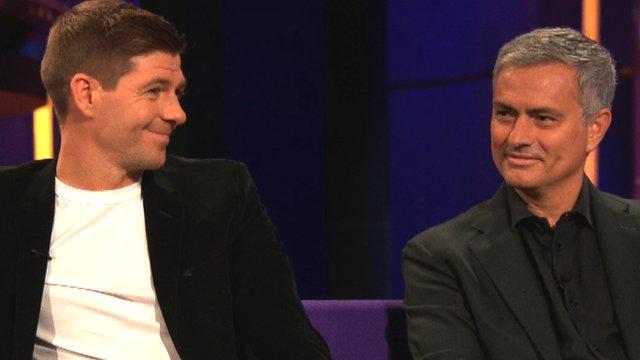 Steven Gerrard and Jose Mourinho