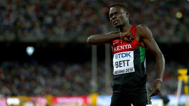Kenya's Nicholas Bett celebrates claiming gold in the 400m hurdles at the World Championships.
