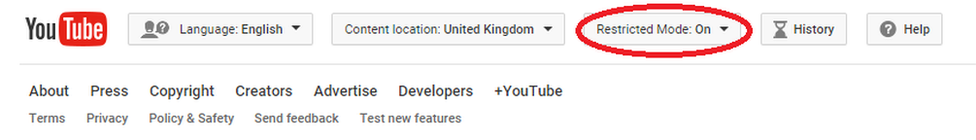screenshot of YouTube bar showing how to turn on restricted mode