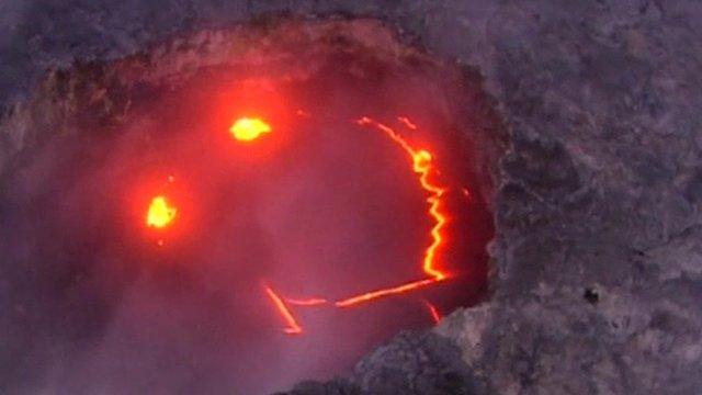 Kilauea volcano lava appearing to smile