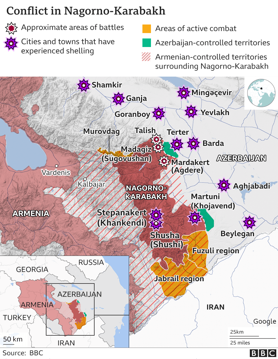 Nagorno-Karabakh: Iran warns of 'regional war' as fighting rages thumbnail