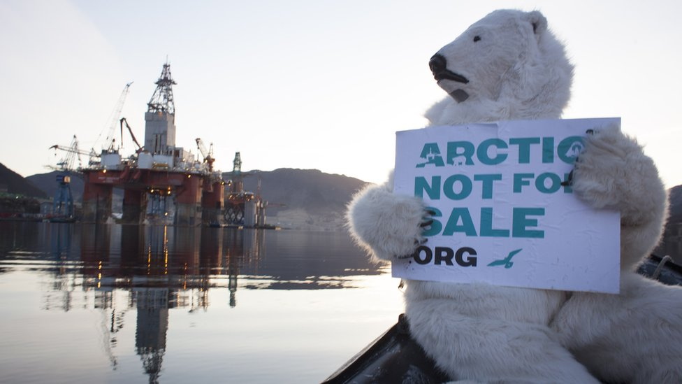 A Greenpeace protest about oil exploration in the Arctic