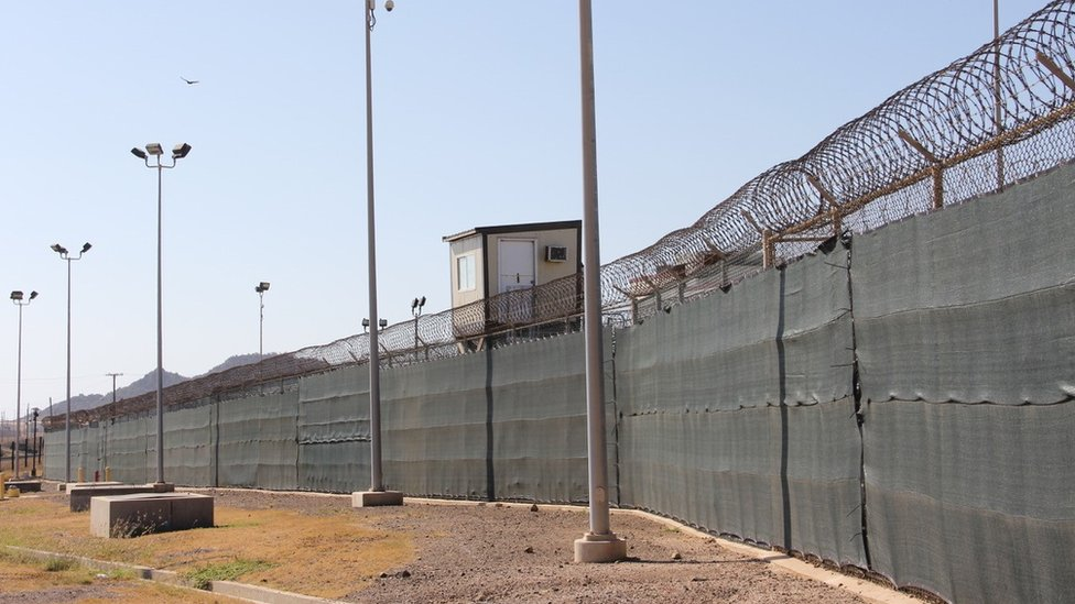 "A guard tower is seen outside the fencing of Camp 5 at the US military""s prison in Guantanamo Bay, Cuba."