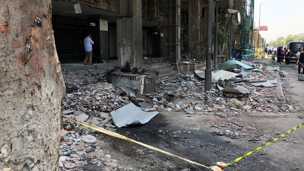 National Cancer Institute in Cairo the day after the explosions