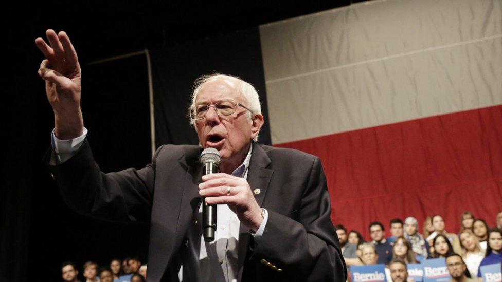 Bernie Sanders en San Antonio, Texas luego del caucus de Nevada.