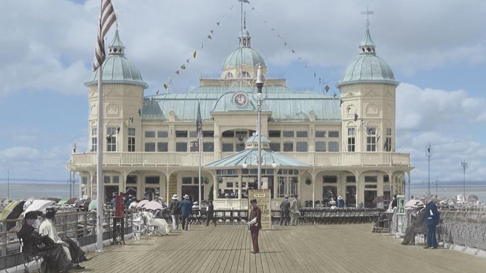 The Grand Pier first opened in 1904 before being destroyed by fire in 1930.