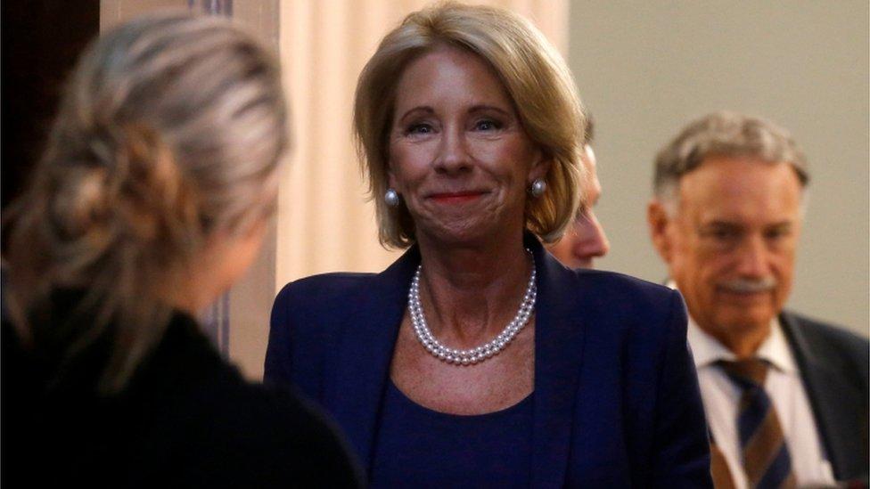 US Education Secretary Betsy DeVos walking