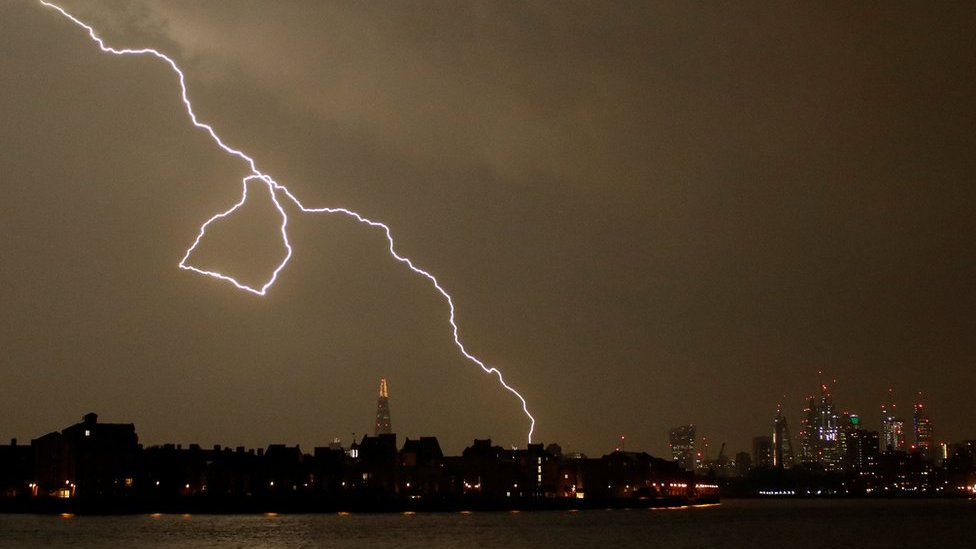 Spectacular lightning strikes parts of UK