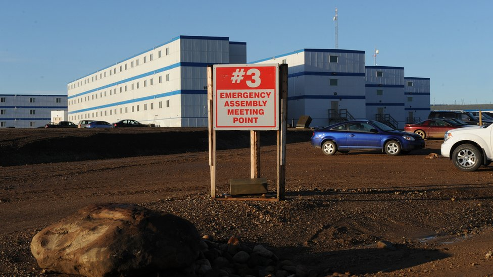 Workers quarters close to oil sands mines and extraction facilities near the town of Fort McMurray in Alberta Province, Canada on October 25, 2009.