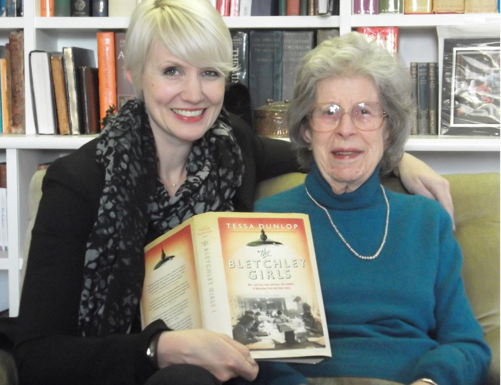 The Bletchley Girls author Dr Tessa Dunlop with Ann Mitchell