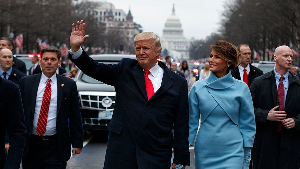 President Donald Trump waves to supporters after being sworn in; 20 Jan Washington DC