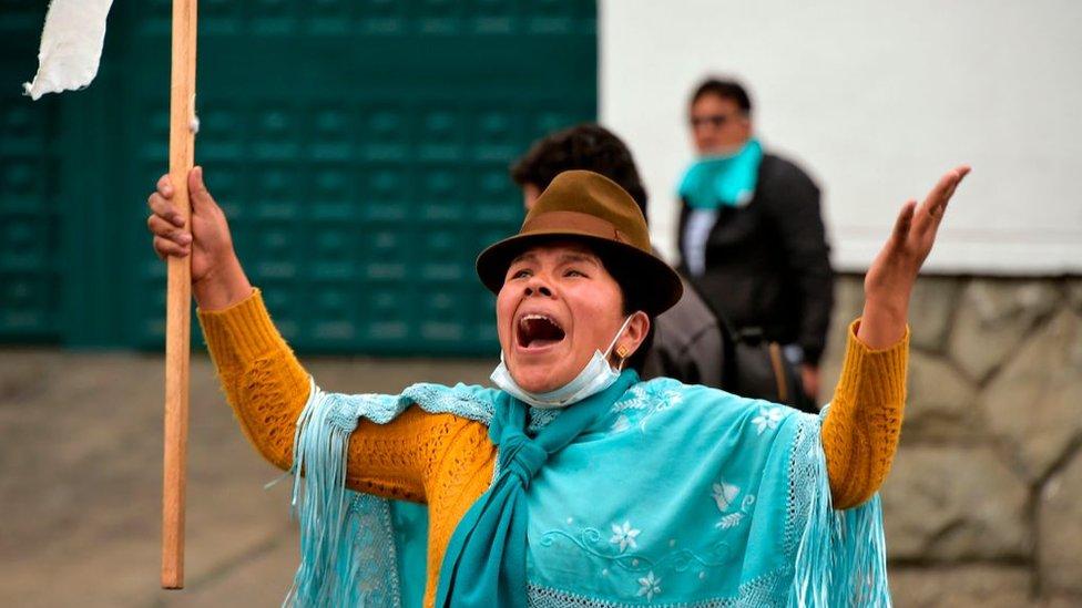 Manifestante en Ecuador (archivo)