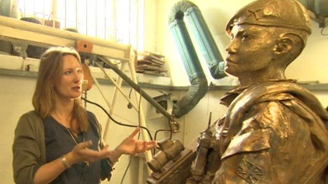 Rebecca Hawkins with Gurkha sculpure