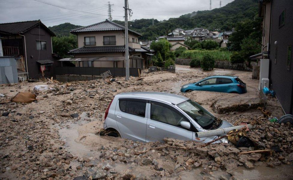 Inundaciones en el oeste de Japón, prefectura de Hiroshima.
