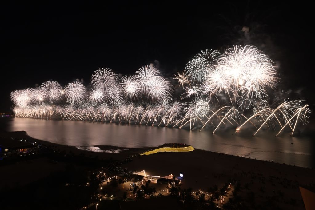 A huge firework display started 2021 in Ras al-Khaimah, in United Arab Emirates