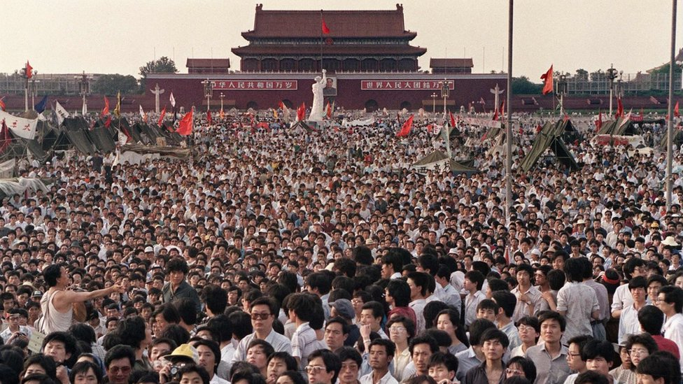 Manifestantes en Tiananmen en 1989
