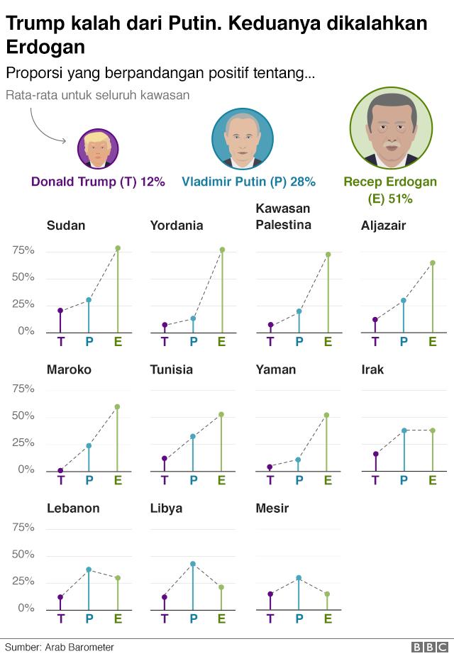 Grafik menunjukkan bahwa Erdogan lebih populer dari Putin dan Trump.