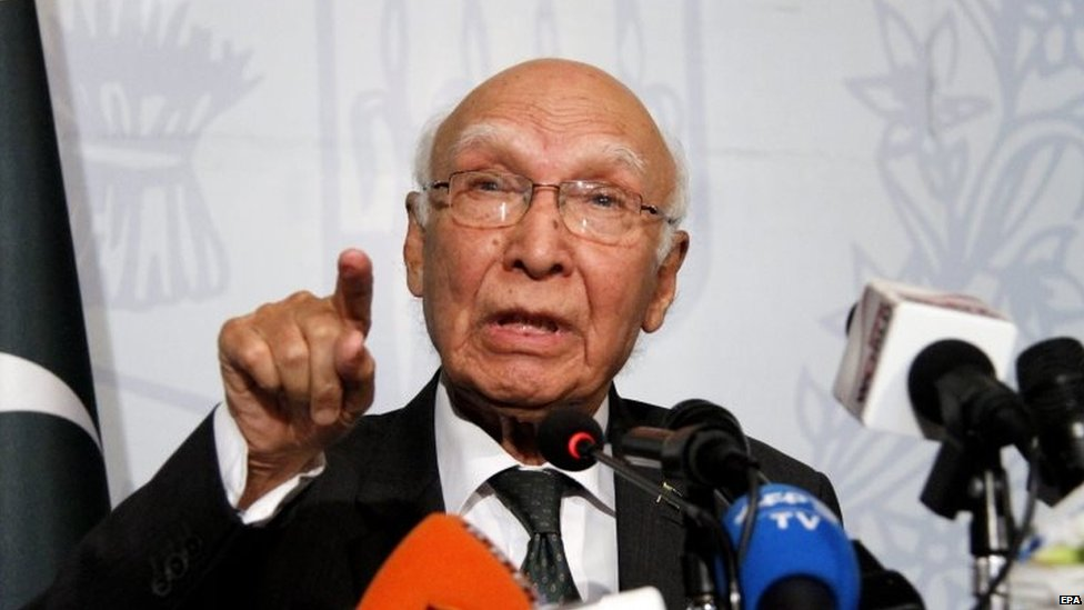 Sartaj Aziz, advisor to the Prime Minister of Pakistan on national security and foreign affairs (22 August 2015)
