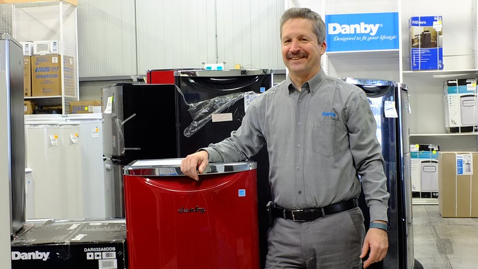 Jim Estill at Danby's factory