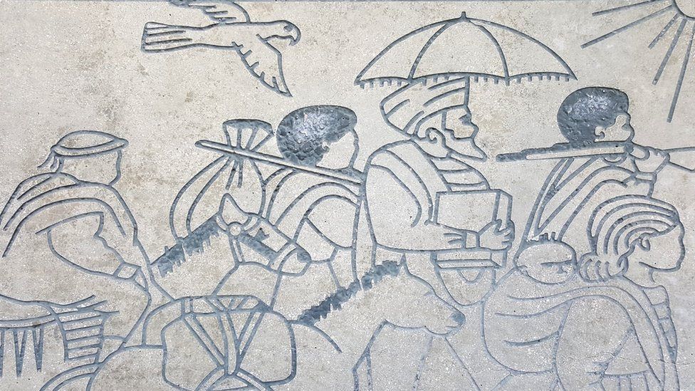 Frieze depicting Ethiopian Jews on journey to Sudan