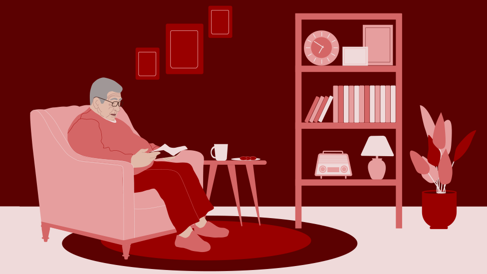 Illustration of John, reading at home