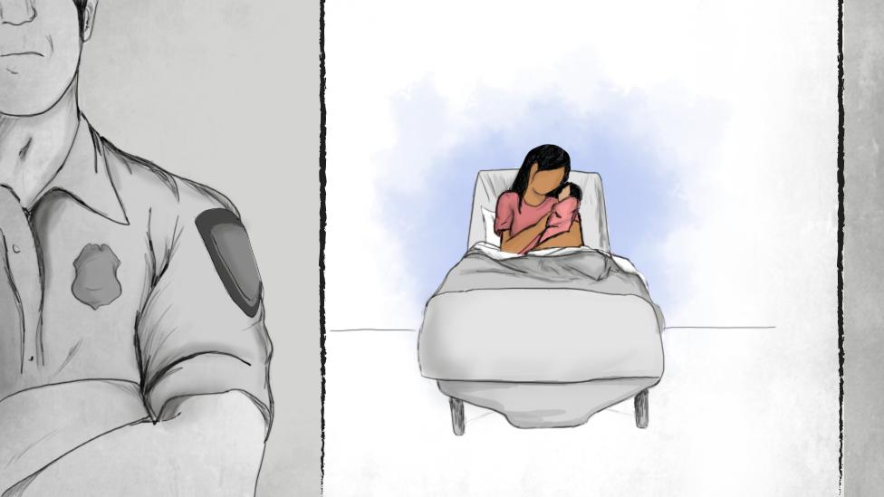 Una ilustración muestra a una mujer sosteniendo a su hija mientras afuera aguarda un agente de seguridad del gobierno de EE.UU.