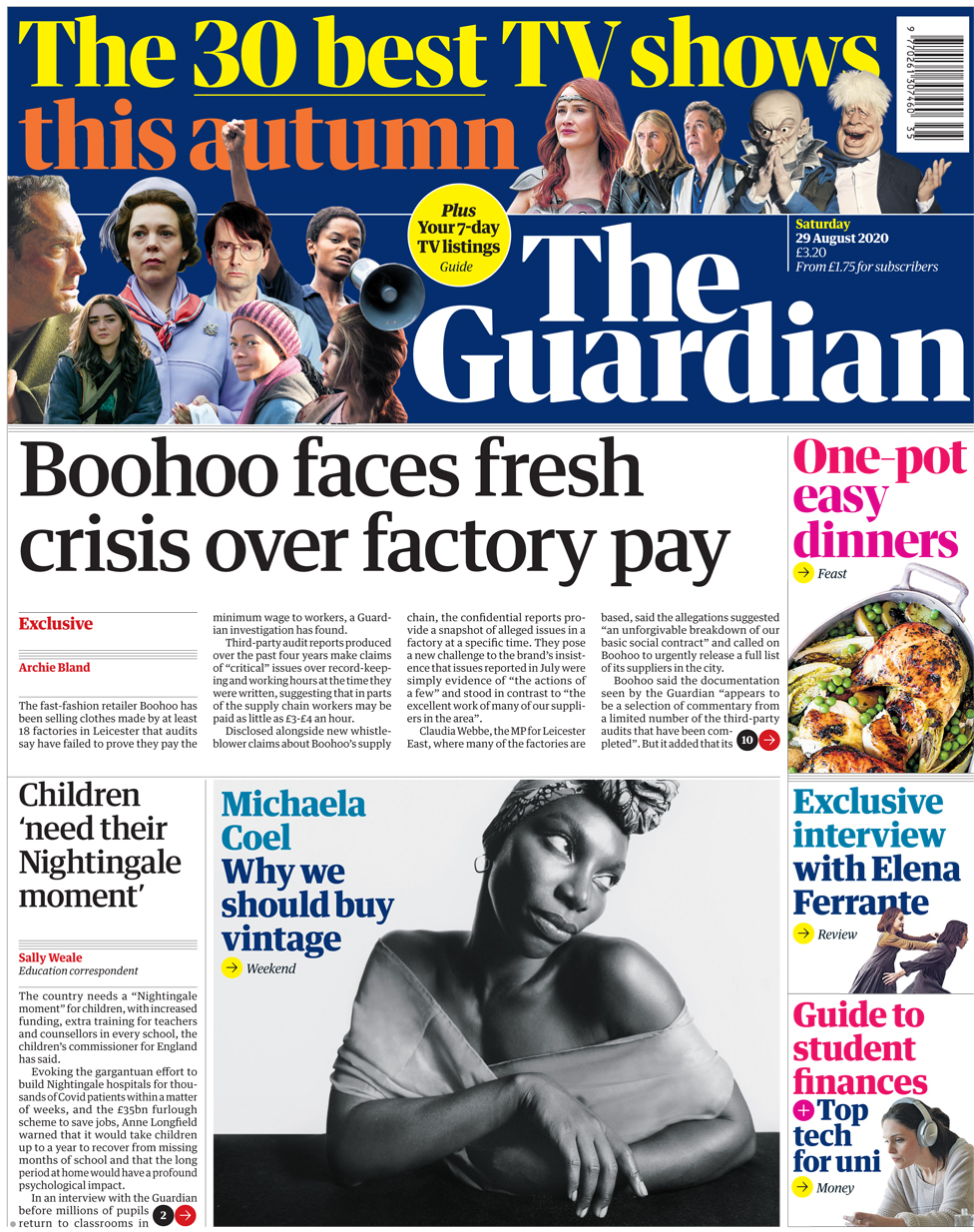 The Guardian front page 29 August 2020
