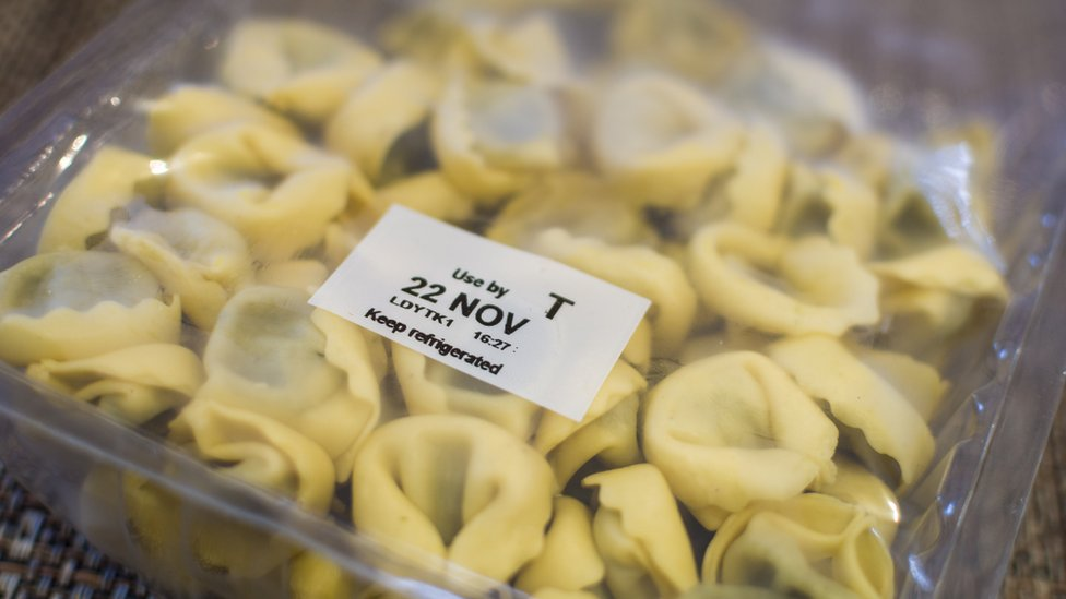 Use by date stamp on pack of pasta