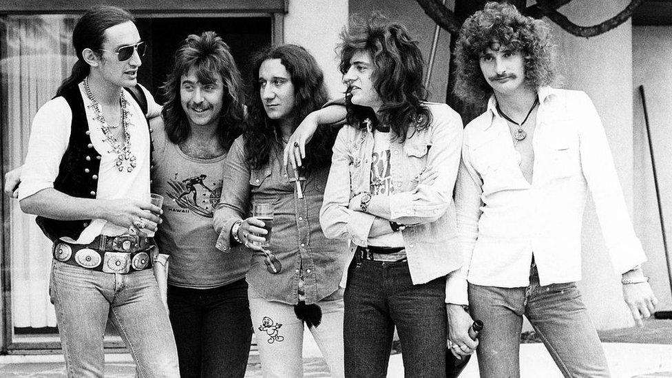 Ken Hensley, Lee Kerslake, Mick Box, Gary Thain and David Byron (left to right), of Uriah Heep
