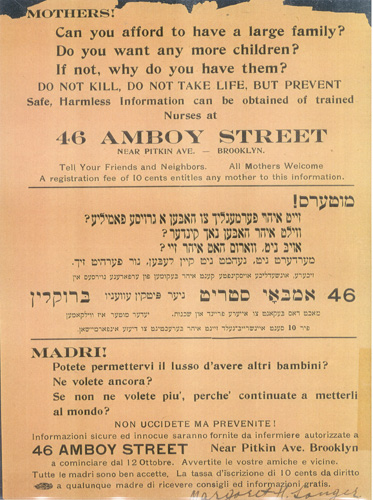 Panfleto anunciando la apertura de la clínica de Margaret Sanger en 1916