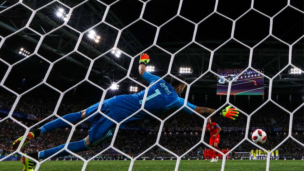 Colombia's goalkeeper David Ospina concedes a goal in England game on Tuesday