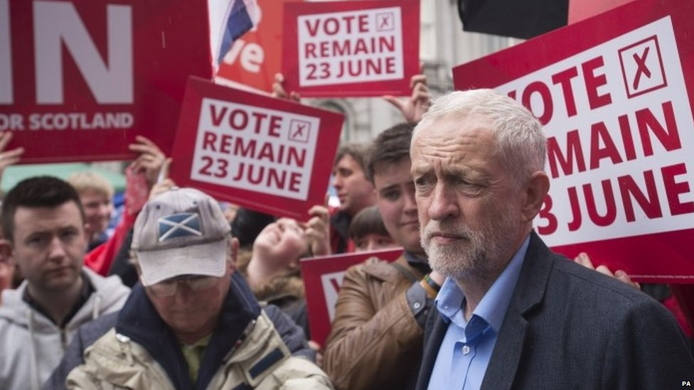 Jeremy Corbyn at a Labour In rally