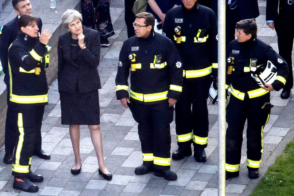 Theresa May and Dany Cotton, Commissioner of the London Fire Brigade