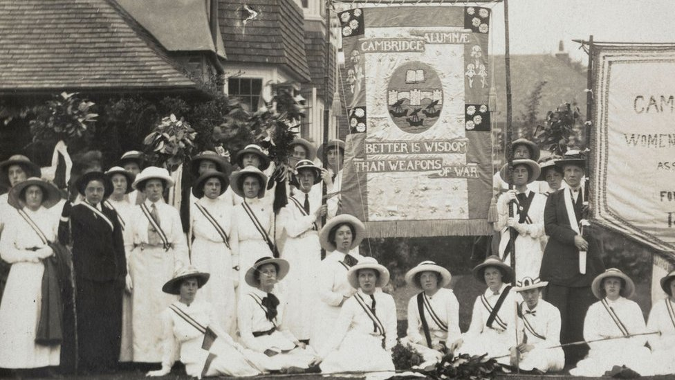 Cambridge University 1908 suffrage banners recreated