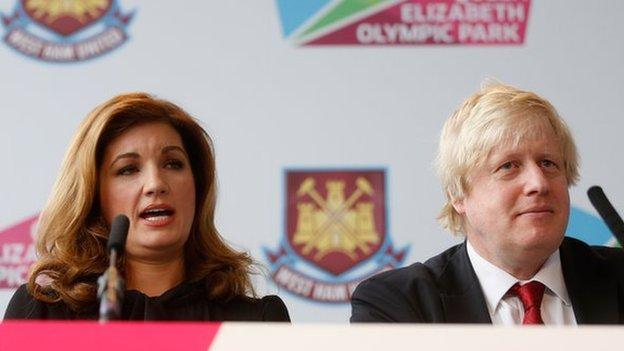 Karen Brady and former Mayor of London Boris Johnson
