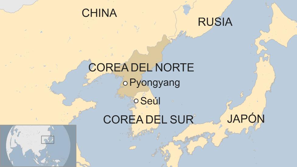 Mapa de Corea del Norte y Corea del Sur