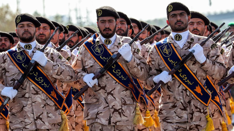 Members of Iran's Revolutionary Guards Corps (IRGC) at a military parade in the capital Tehran on September 22, 2018