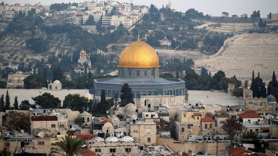 A general view shows part of Jerusalem's Old City and the Dome of the Rock December 5, 2017