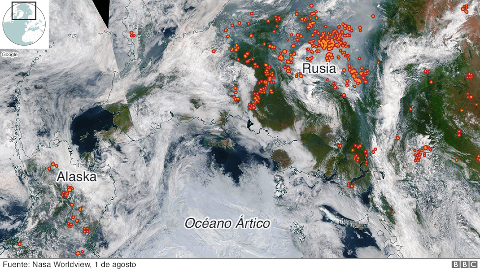 Imagen satelital de la región ártica de Alaska y Rusia afectada por incendios