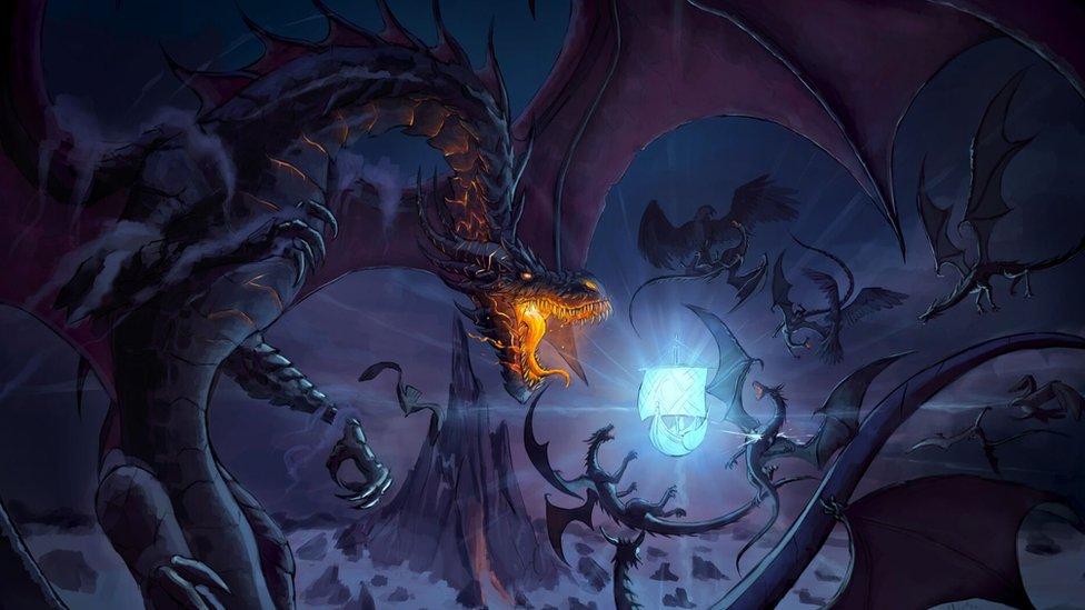 Ilustração de dragão feita por Igor Soares Silva