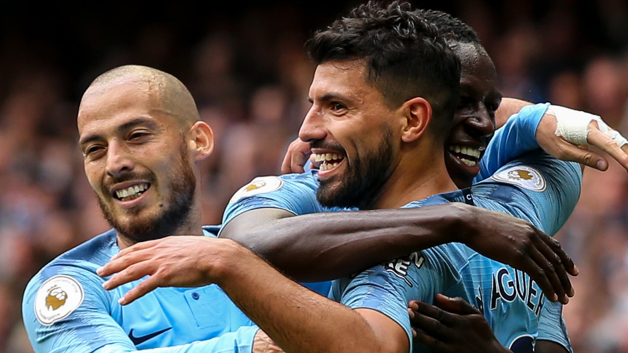 Man City 6-1 Huddersfield: Sergio Aguero hat-trick as champions go top