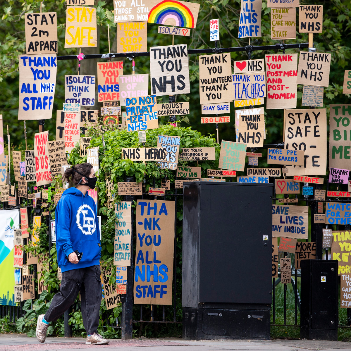 Signs supporting the NHS, London