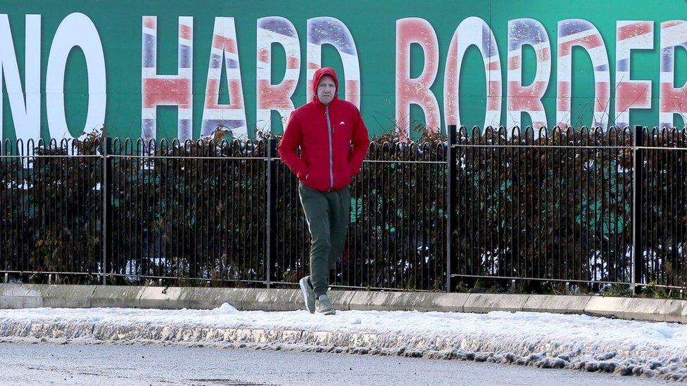 "Sinn Fein billboard in West Belfast calling for ""No Hard Border"""