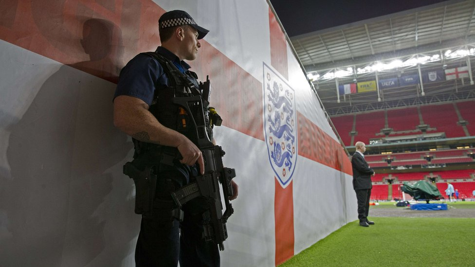 Armed police officer at Wembley Stadium