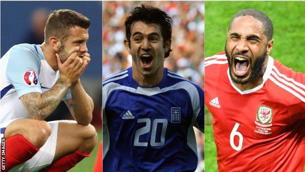 Jack Wilshere, Georgios Karagounis and Ashley Williams react following famous Euros shocks